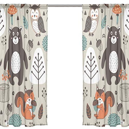 Orediy Vorhang aus Voile, transparent, 2 Paneele, Tribal-Waldtiere, 40 % Verdunklungsstange, langer Vorhang, Fensterbehandlung, Schlafzimmer, Wohnzimmer, 2* 140W x 213 H