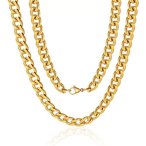 M MOOHAM Gold Chain for Men, 12mm 16 Inch Stainless Steel Gold Cuban Link Chain Necklace for Men