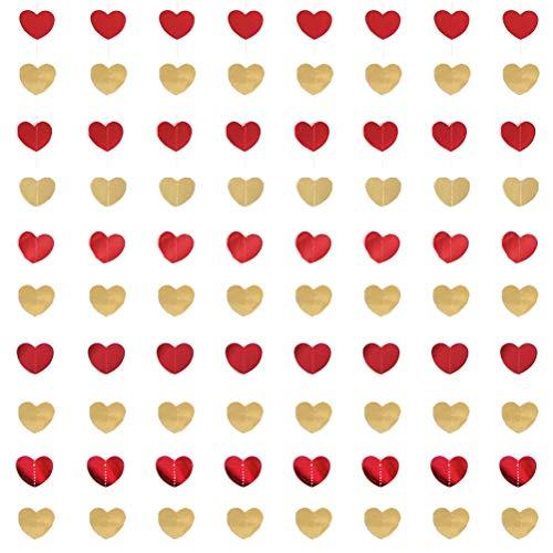 13peas 8 stuks hart slinger, banner, decoratieve papieren slinger, spiraal, slinger, feestdecoratie, plafondhanger, slinger voor bruiloften, verjaardag, Valentijnsdag (kleur naar keuze)