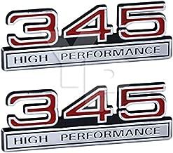 345 5.7 Liter High Performance Engine Emblems in Chrome & Red Trim - 4