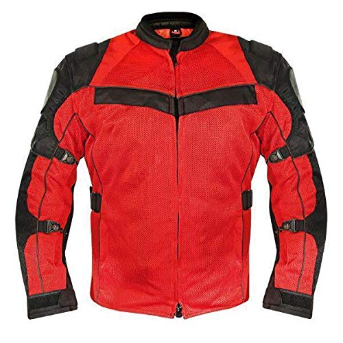 Xelement XS8161 Men's 'Venture' All Season Black with Red Tri-Tex and Mesh Jacket with X-Armor Protection - X-Large