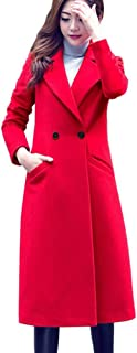 Ausexy Womens Fashion Slim Long Woolen Coat Casual Lapel Button Autumn Winter Plus Size Overcoat Parka Outwear Cardigan
