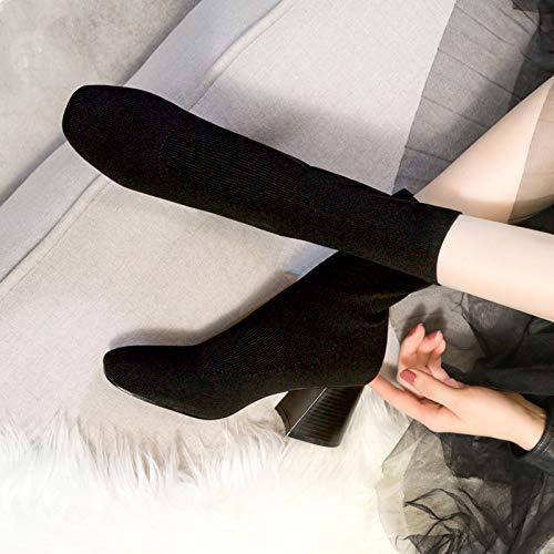 Shukun enkellaarzen herfst en winter skinny laarzen stretchlaarzen Women'S Tube sokken laarzen sokken laarzen dik met hoge hak laarzen
