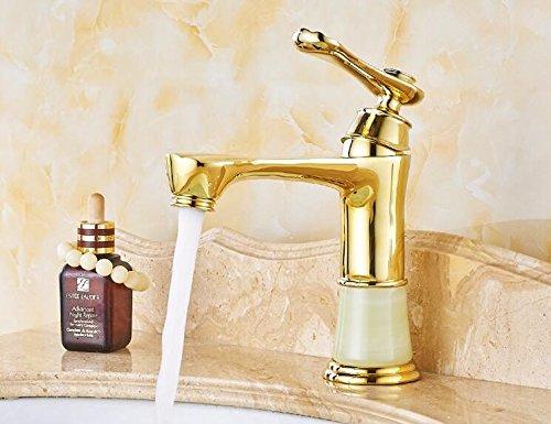 MangeooNeues Badezimmer Waschbecken Onyx Wasserhahn Golden einzigen Griff antike Juwel Becken Marmor Armaturen