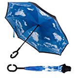 Jumix Multicolour UV Protection Windproof Large Inverted Double Layer Reversible Umbrella for Women and Men with C Handle