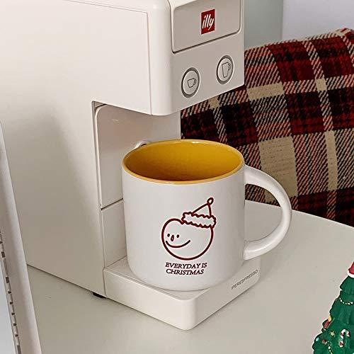 Taza de cerámica ins taza de leche de desayuno simple pintada a mano línea roja muñeco de nieve avatar taza de gran capacidad taza de café B