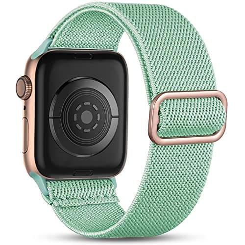Witzon Compatible with Apple Watch Band 40mm 38mm for Women Men, Elastic Solo Loop Soft Breathable Braided Nylon Stretchy Bands for iWatch / Apple Watch SE Series 6 5 4 3 2 1, Rose Gold Teal