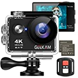 GeeKamAction Cam 4K 30fps/ 20MP wasserdichte Sport Kamera WiFi Doppelbildschirm Ultra Full HD 30M...