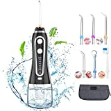 Cordless Water Flosser, Professional Dental Teeth Cleaner , 5 Modes IPX7 Waterproof Oral Irrigator with 6 Tips, 300ML Portable and Rechargeable Toothbrush and Water Flosser Combo for Brace Bridge Care