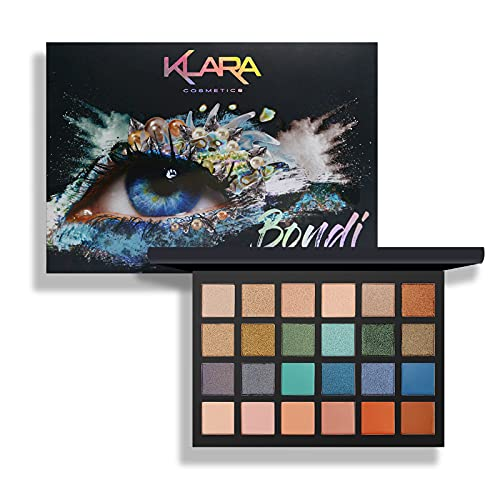 Klara Cosmetics 24 Shades Eyeshadow Palette festive luxury matte shimmer vibrant cool bold full color pigment long lasting collection, Bondi, 1 Count