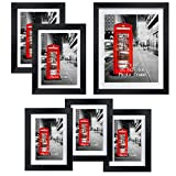 Gallery Picture Frame Set of 6, Black Multi Size Frames Made to Display One 8x10, Two 5x7, Three 4x6 Photos for Wall and Tabletop