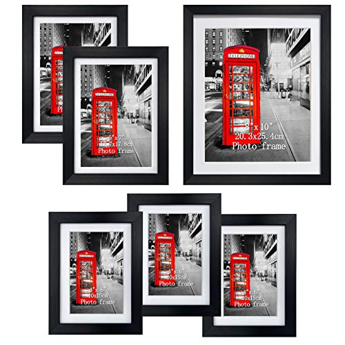 Amazing Roo Gallery Picture Frame Set of 6, Black Multi Photo Picture Frames with Glass Front Dispaly for Wall or Tabletop, One 8x10, Two 5x7, Three 4x6