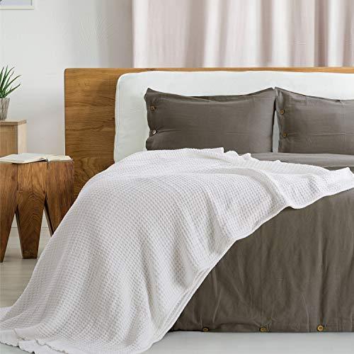 Bedsure Manta Sofá Verano Algodón 100% - Plaid para Sofá Grande de Waffle 220x240 cm, Manta Multiuso para Cama 135/150 y Cubresofa, Blanco