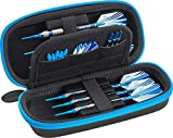 Casemaster Sentry Dart Case Slim EVA Shell with Blue Zipper for Steel and Soft Tip Darts, Hold 6 Darts and Features Built-in Storage for Flights, Tips and Shafts, Blue Zipper