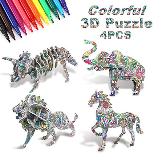 NASHRIO 3D Coloring Puzzle Set, Art and Crafts for Kids Girls Boys Fun Art Creative DIY Toys Gift Kit for Kids 6-12 Years Old, 4-Pack Animals Puzzles with 12 Markers