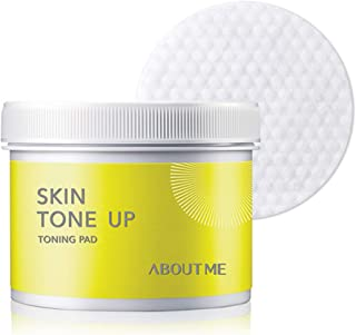 ABOUT ME Skin Tone Up Toning Pad 135ml 60 Sheet - AHA & BHA Sebum ad Pore Clenansing Care with Double Side Pad, Skin Brightening with Lemon Extract, Removes Makeup Residue & Blackhead