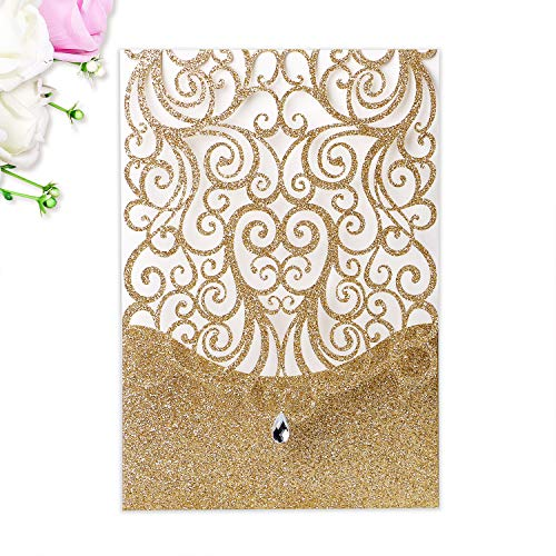 PONATIA 25 Pieces 5x7 inches Glitter Laser Cut Wedding Invitations with Envelopes Kits for Wedding Bridal Shower Engagement (Gold Glitter) (Gold Glitter)