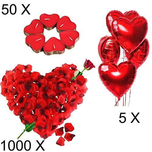 Kit Romántico de Velas y Pétalos. 50 Velas en Forma de Corazón + 1000 Pétalos de Rosa Roja de Seda + 5 Globos Corazón Rojo - Decoración para Bodas, San Valentín y Compromiso