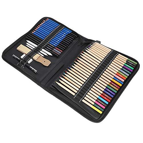 Juego de lápices, lápiz de color profesional, para estudiantes de arte, dibujo, papelería, amantes del dibujo, con bolso de almacenamiento