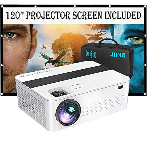 Bluetooth Native 1920x1080P Projector with 120' Projector Screen & Bag ,9000 Lux Upgrade Full HD 4K Projector with 450' Display,Outdoor Projector Support Dolby Sound & 75% Zoom for Phone,PC,TV Box,PS4