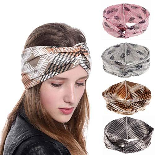 Brishow 4 Pack Boho Hoofdbanden Kruisgeknoopte Haarbanden Elastische Hoofd Wrap Antislip Turban Stijlvolle Haaraccessoires voor Vrouwen en Meisjes