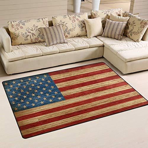 Alfombra de área de 183 x 122 cm, diseño de bandera americana retro de grano de madera, antideslizante, para sala de estar, dormitorio, tapetes para decoración del hogar