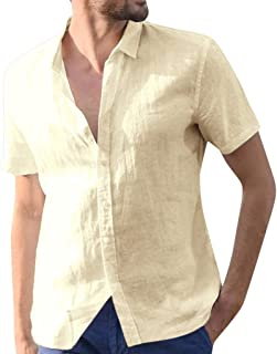Linen Shirts for Men Short Sleeve Big and Tall Baggy Solid Button Down Retro T Shirts Tops Blouse