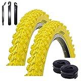 """maxxi4you - Set di 2 pneumatici Kenda K-829 da 26"""" per mountain bike, colore giallo 50-559 (26 x 1.95) + 2 camere d'aria AV con 3 leve per pneumatici"""