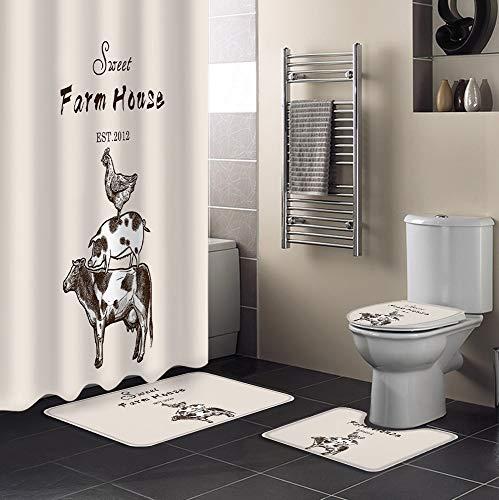 Minyose American Country Style Farm Kuh Schwein Huhn Duschvorhang Sets Teppiche Toilettendeckelabdeckung Und Badematte wasserdichte Badezimmer Gardinen 180X180 cm