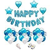 iZoeL Anniversaire Ballon Bleu Garçon Guirlande Happy Birthday Ballon, 20 Latex Ballon Bleu, 10 Ballon Blanc, 10 Ballons Confettis Argent Bleu, 4 Ballons Chiffre étoile et Coeur, 2 Ballons String