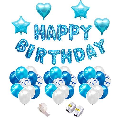 iZoeL Geburtstag Deko Happy Birthday Girlande Folienballon Konfetti Luftballons Herz Stern Folienballon (1)