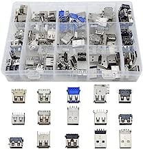 TOVOT 150 PCS USB 2.0 ,3.0 Type A Male Female Plug Connector Jack Socket Connector PBC Mounting Assortment Set