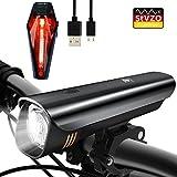 LED Fahrradlicht Set, Degbit StVZO Zugelassen USB Wiederaufladbare LED Fahrradbeleuchtung Set, Fahrradlampe Set inkl, LED Frontlichter und Rücklicht, 2600mAh Akku USB Aufladbare Fahrradlichter (LF-04)