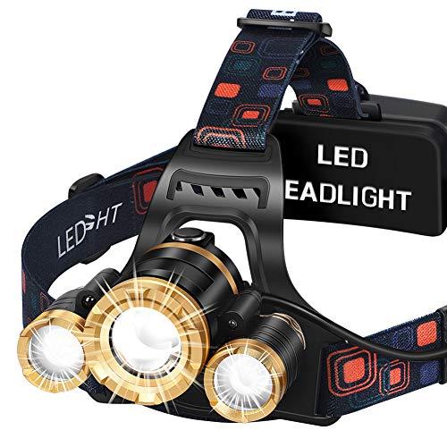 Headlamp MAS MODO LED Brightest 6000 lumens Flashlight USB Rechargeable Work Headlight,IPX4 Waterproof & 18650 Flashlight with Zoomable Work Light,Head Lights for Camping, Hiking, Outdoors,Fishi …