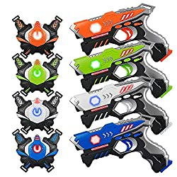 cheap KidPal laser tag, laser tag gun with 4-pack family vest, laser tag game set with gun …