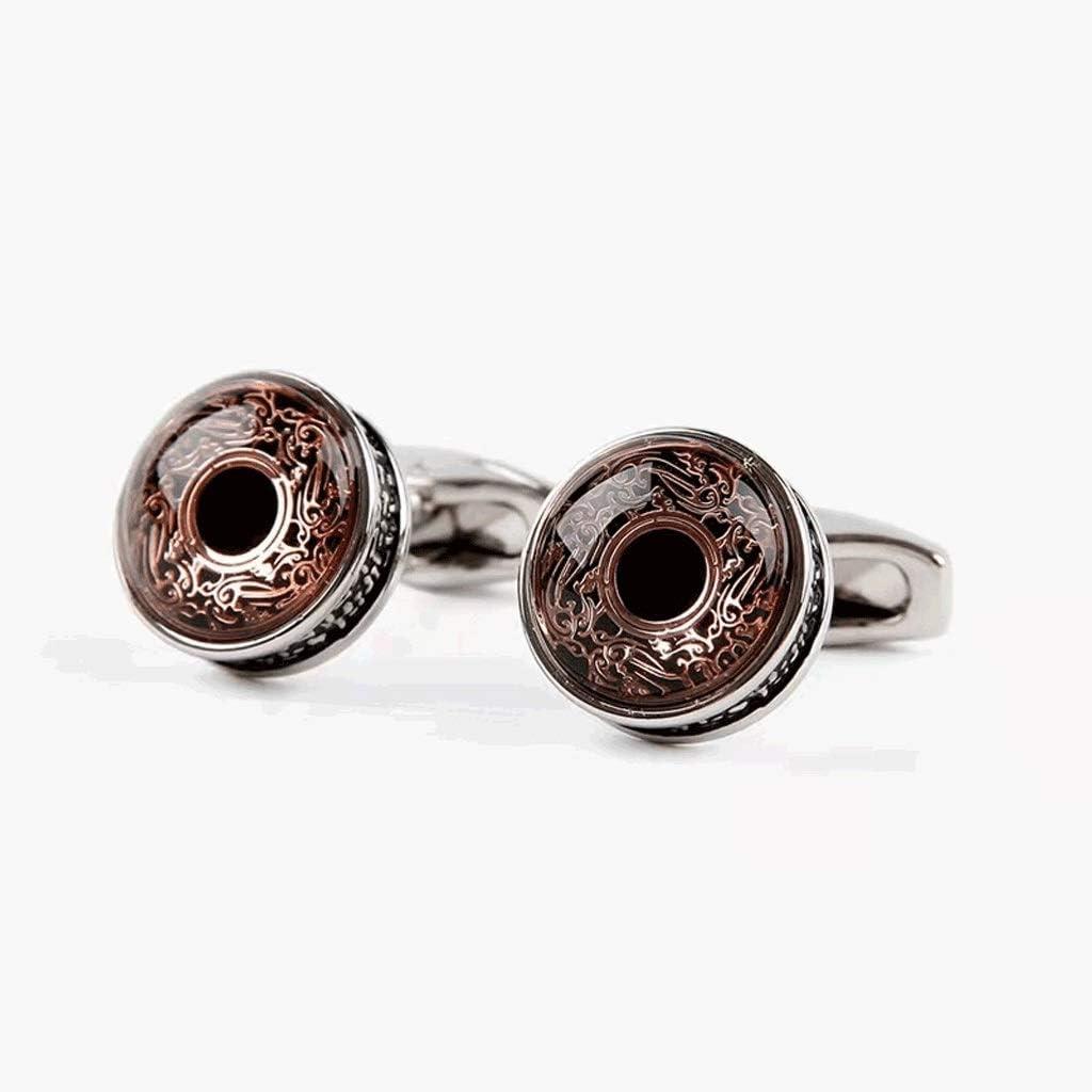 ZZABC Vintage Shirt Cufflinks Men's Round Rose Gold Pattern Cufflinks Wedding Buttons Accessories