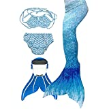 3STEAM Mädchen Meerjungfrauenschwanz Zum Schwimmen mit Meerjungfrau Flosse, Water Blue, 8...
