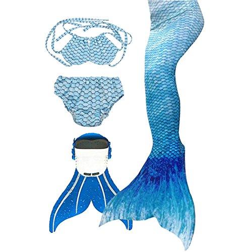 SPEEDEVE Mädchen Meerjungfrauenschwanz Zum Schwimmen mit Meerjungfrau Flosse, 10 (120-130cm), Wasser Blau