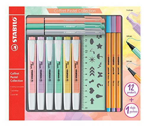 STABILO Stifte im Set - Pastell Collection - 12 Stifte in Pastellfarben - 6x swing cool Pastel, 3x pointMax, 3x point 88 und 1x Schablonen-Lineal