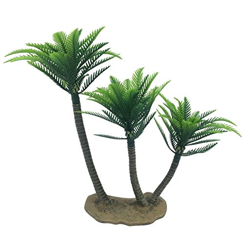 FUNSHOWCASE Extra Large 10.2-inch Height Rainforest Coconut Palm Palms Triplet Coconut Tree Trees Aquarium Terrariums Miniature Garden Fairy Gardens Doll House Cake Topper Resin Decoration