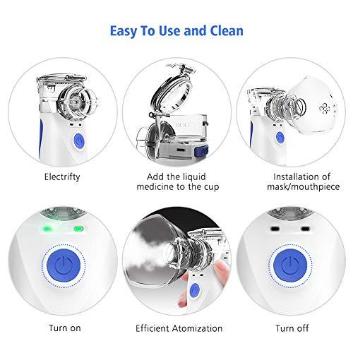 51rWz46VUPL - NWOUIIAY Nebulizador Portátil Inhalador Eléctrico Silencioso Cable USB Recargable para Adultos y Niños