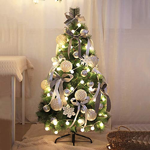 DULPLAY Pre-Decorated Artificial Christmas Tree with Multicolored Lights Metal Stand Pine Needle Xmas Tree for Traditional Indoor-Green 6.8Ft(210cm)