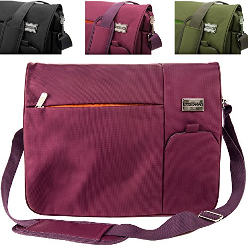 Italey Everyday Laptop Tablet Carrying Messenger Bag (Plum Purple) for Lenovo 15.6 inch Laptops (IdeaPad, Flex, Thinkpad, Edge