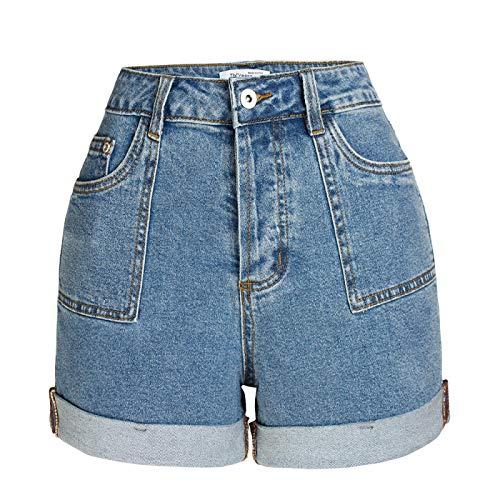 Fainash Pantalones Cortos de Mezclilla para Mujer Moda Slim Fit Stretch Cintura Alta Levantamiento de glúteos...