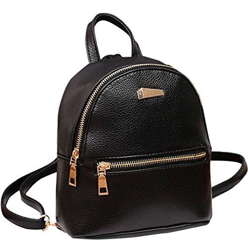 LeeY Damen Mini Rucksack, Casual Kleiner Rucksack Leder Rucksack Elegant Schulrucksack Mini Handtasche Daypack Schulranzen Schultertasche wasserdichte Reiserucksack Tasche Backpacks (Schwarz)