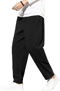 FTIMILD Mens Loose Fit Casual Elastic Waist Drawstring Yoga Beach Trousers