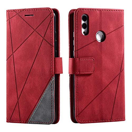 Hülle für Huawei Honor 10 Lite/Huawei P Smart 2019, SONWO Premium Leder PU Handyhülle Flip Hülle Wallet Silikon Bumper Schutzhülle Klapphülle für Huawei Honor 10 Lite/Huawei P Smart 2019, Rot