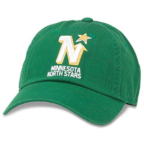 AMERICAN NEEDLE Blue Line NHL Team Dad Hat, Vintage Minnesota North Stars, Kelly Green (40742A-MNN)