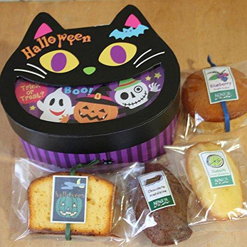 ハロウィンスイーツギフト「ブラックキャット」黒猫型のボックス入り和歌山産カボチャやフルーツ・チョコなどの4種の焼き菓子プチギフト