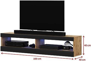 Selsey Meuble TV, Eiche Matt/Schwarz Hochglanz, 100 x 40 x 40